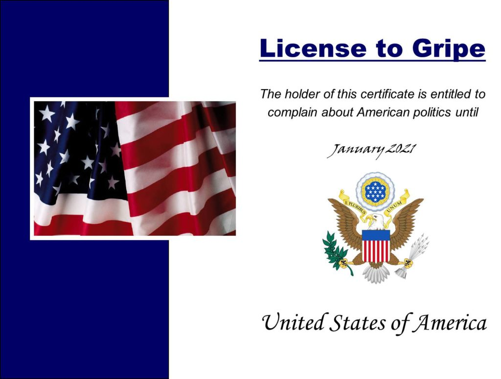 License to gripe